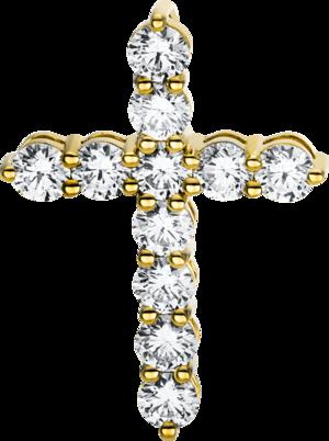 Anhänger Brogle Selection Basic Kreuz aus 750 Gelbgold mit 11 Brillanten (1,84 Karat)