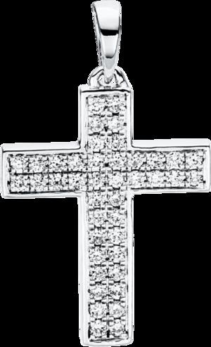 Anhänger Brogle Selection Basic Kreuz aus 750 Weißgold mit 42 Brillanten (0,2 Karat)