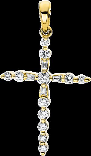 Anhänger Brogle Selection Basic Kreuz aus 750 Gelbgold mit 16 Brillanten (0,24 Karat)