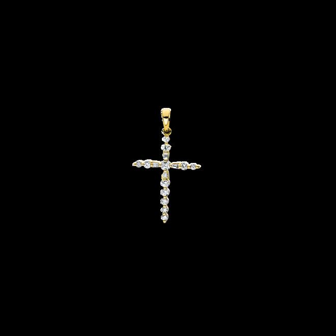Anhänger Brogle Selection Basic Kreuz aus 750 Gelbgold mit 16 Brillanten (0,24 Karat) bei Brogle