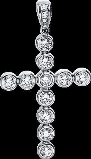 Anhänger Brogle Selection Basic Kreuz aus 750 Weißgold mit 17 Brillanten (2,28 Karat)