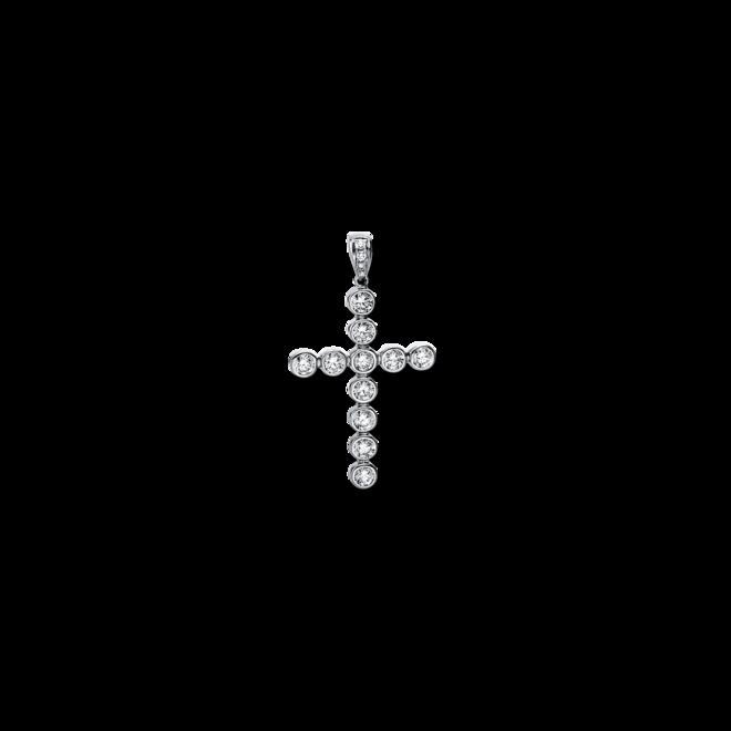 Anhänger Brogle Selection Basic Kreuz aus 750 Weißgold mit 17 Brillanten (2,28 Karat) bei Brogle