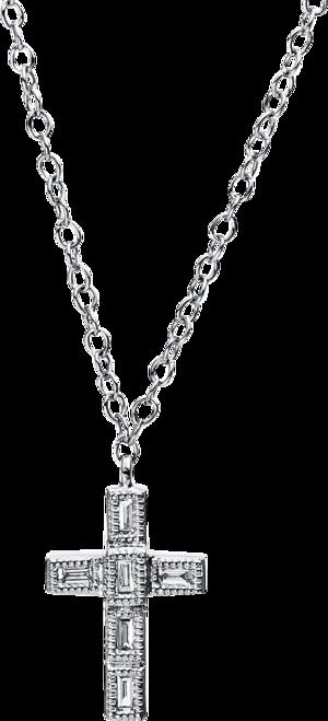 Halskette mit Anhänger Brogle Selection Basic Kreuz aus 750 Weißgold mit 6 Diamanten (0,03 Karat)