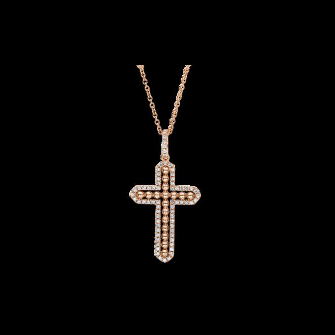 Halskette mit Anhänger Brogle Selection Basic Kreuz aus 750 Roségold mit 68 Brillanten (0,24 Karat) bei Brogle