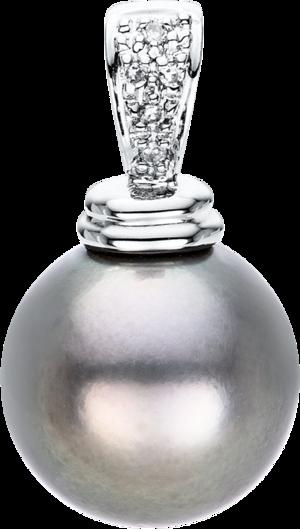 Anhänger Brogle Selection Basic Perle aus 750 Weißgold mit Tahiti-Perle und 5 Brillanten (0,27 Karat)