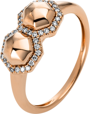 Ring Brogle Selection Basic aus 585 Roségold mit 38 Brillanten (0,14 Karat)