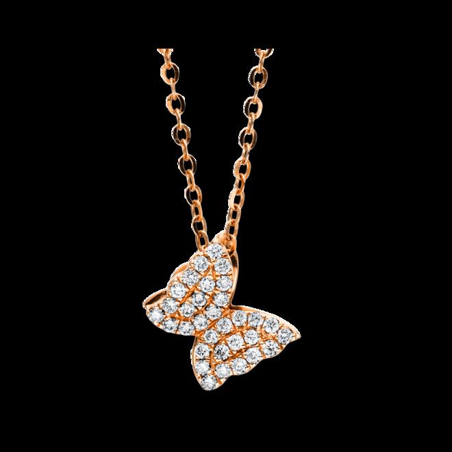 Halskette mit Anhänger Brogle Selection Basic Schmetterling aus 750 Roségold mit 32 Brillanten (0,24 Karat) bei Brogle