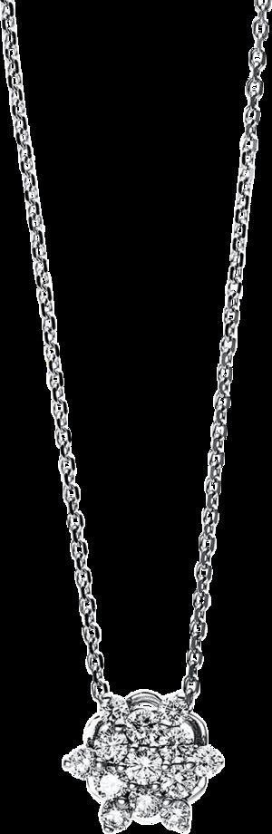 Halskette mit Anhänger Brogle Selection Basic Stern aus 750 Weißgold mit 13 Brillanten (0,48 Karat)