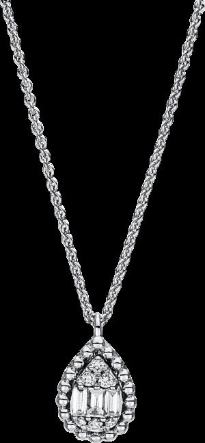 Halskette mit Anhänger Brogle Selection Basic Tropfen aus 750 Weißgold mit 9 Brillanten (0,11 Karat)