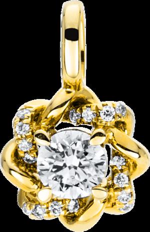 Anhänger Brogle Selection Casual aus 585 Gelbgold mit 17 Brillanten (0,22 Karat)