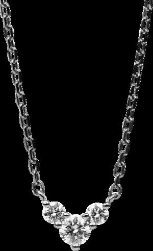 Halskette mit Anhänger Brogle Selection Casual aus 585 Weißgold mit 3 Brillanten (0,2 Karat)