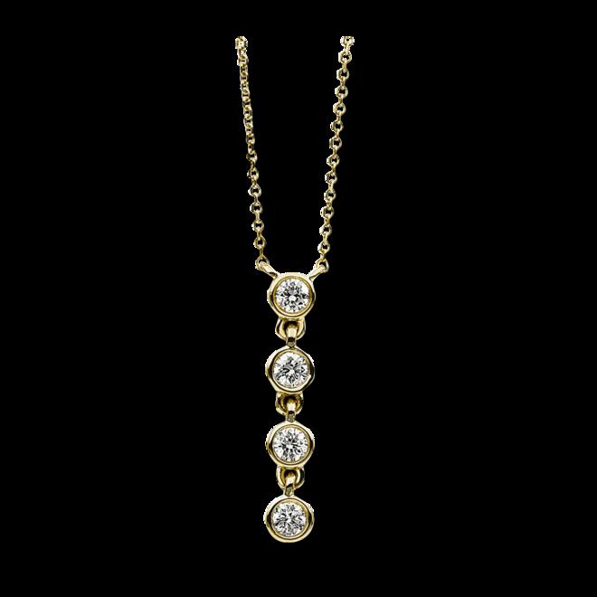 Halskette mit Anhänger Brogle Selection Casual aus 585 Gelbgold mit 4 Brillanten (0,16 Karat) bei Brogle