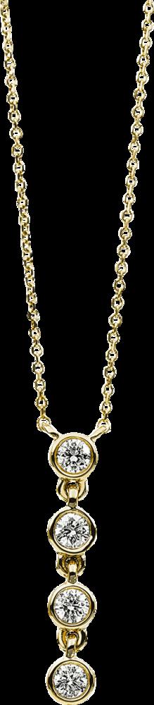Halskette mit Anhänger Brogle Selection Casual aus 585 Gelbgold mit 4 Brillanten (0,16 Karat)
