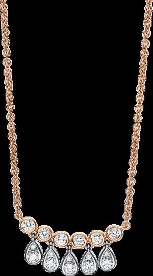 Halskette mit Anhänger Brogle Selection Casual aus 750 Roségold und 750 Weißgold mit 16 Brillanten (0,35 Karat)