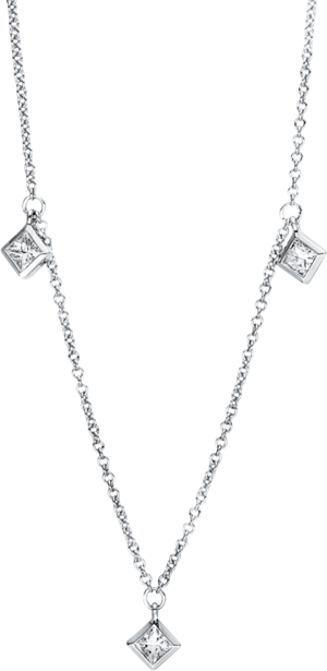 Halskette mit Anhänger Brogle Selection Casual aus 750 Weißgold mit 5 Brillanten (0,4 Karat)