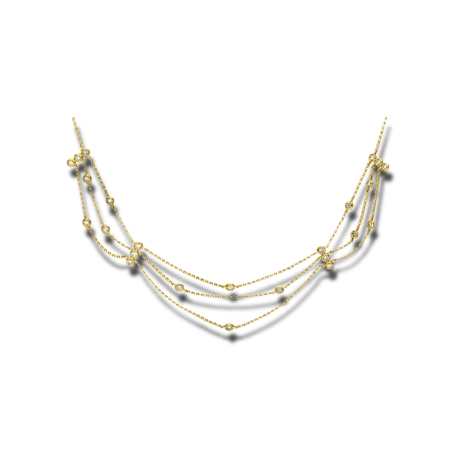 Halskette Brogle Selection Casual aus 750 Gelbgold mit 24 Brillanten (0,33 Karat) bei Brogle