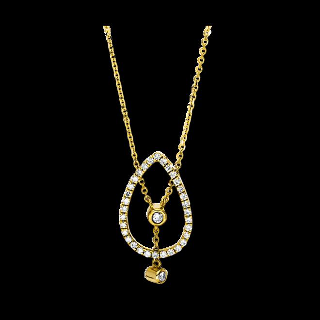 Halskette mit Anhänger Brogle Selection Casual aus 750 Gelbgold mit 34 Brillanten (0,19 Karat) bei Brogle