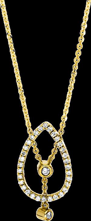 Halskette mit Anhänger Brogle Selection Casual aus 750 Gelbgold mit 34 Brillanten (0,19 Karat)