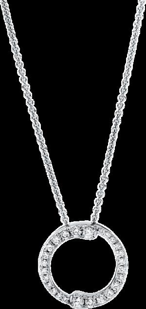 Halskette mit Anhänger Brogle Selection Casual Kreis aus 750 Weißgold mit 26 Brillanten (0,24 Karat)