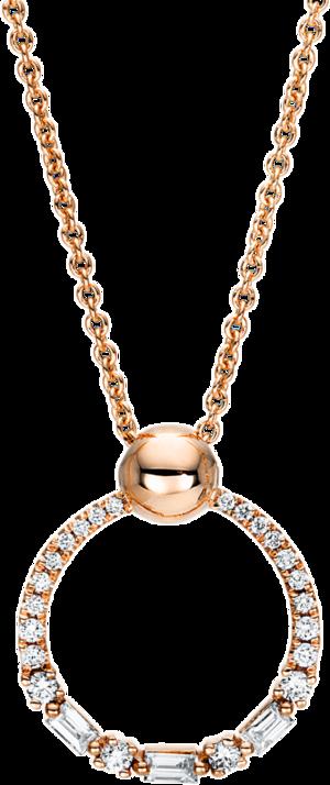 Halskette mit Anhänger Brogle Selection Casual Kreis aus 750 Roségold mit 25 Brillanten (0,23 Karat)