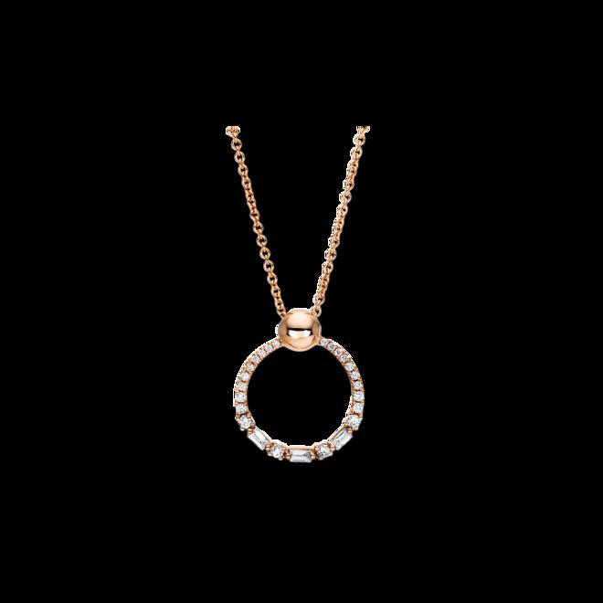 Halskette mit Anhänger Brogle Selection Casual Kreis aus 750 Roségold mit 25 Brillanten (0,23 Karat) bei Brogle