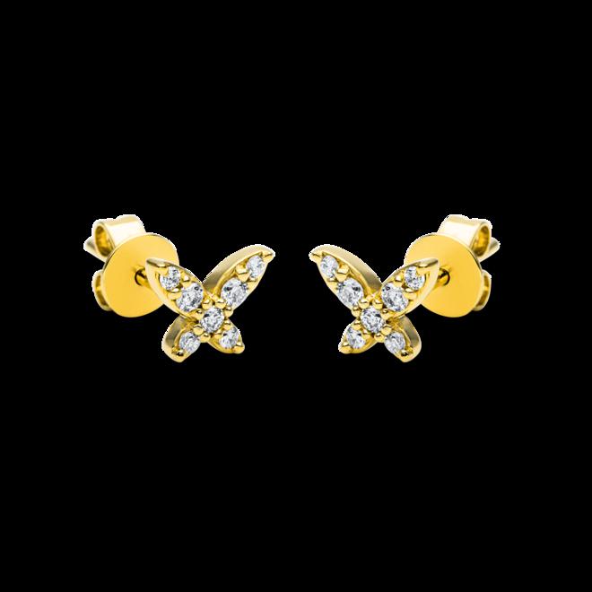 Ohrstecker Brogle Selection Casual aus 750 Gelbgold mit 14 Brillanten (2 x 0,08 Karat) bei Brogle