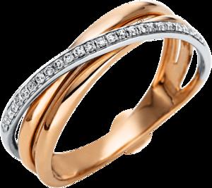 Ring Brogle Selection Casual aus 585 Roségold und 585 Weißgold mit 26 Brillanten (0,1 Karat)