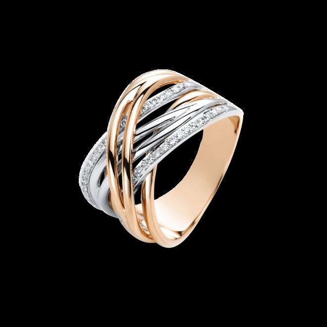Ring Brogle Selection Casual aus 750 Roségold und 750 Weißgold mit 46 Brillanten (0,22 Karat) bei Brogle