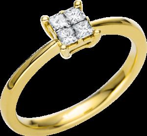 Ring Brogle Selection Casual aus 750 Gelbgold mit 4 Diamanten (0,25 Karat)
