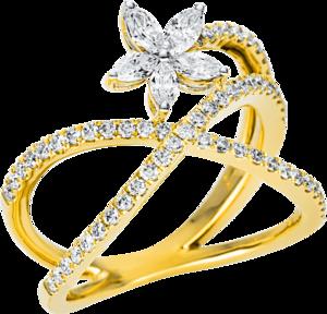 Ring Brogle Selection Casual aus 750 Gelbgold mit 64 Brillanten (0,77 Karat)