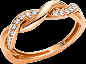 Ring Brogle Selection Casual aus 750 Roségold mit 18 Brillanten (0,18 Karat)