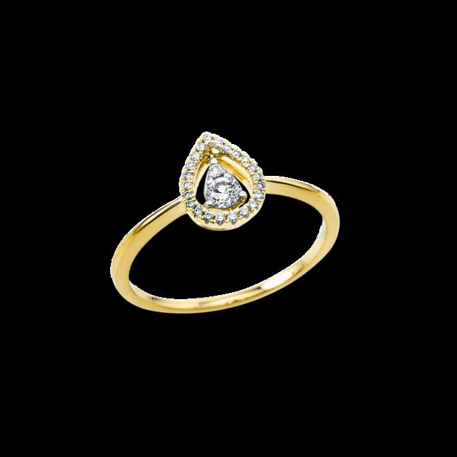 Ring Brogle Selection Casual Tropfen aus 750 Gelbgold mit 24 Brillanten (0,17 Karat)