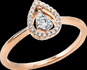 Ring Brogle Selection Casual Tropfen aus 750 Roségold und 750 Weißgold mit 24 Brillanten (0,16 Karat)