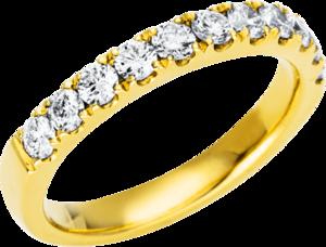 Memoirering Brogle Selection Eternity aus 750 Gelbgold mit 11 Brillanten (0,71 Karat) halb ausgefasst