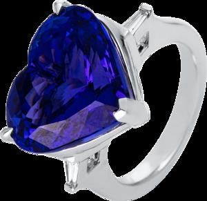 Ring Brogle Selection Felicity Herz aus 750 Weißgold mit 2 Diamanten (0,13 Karat) und 1 Tansanit
