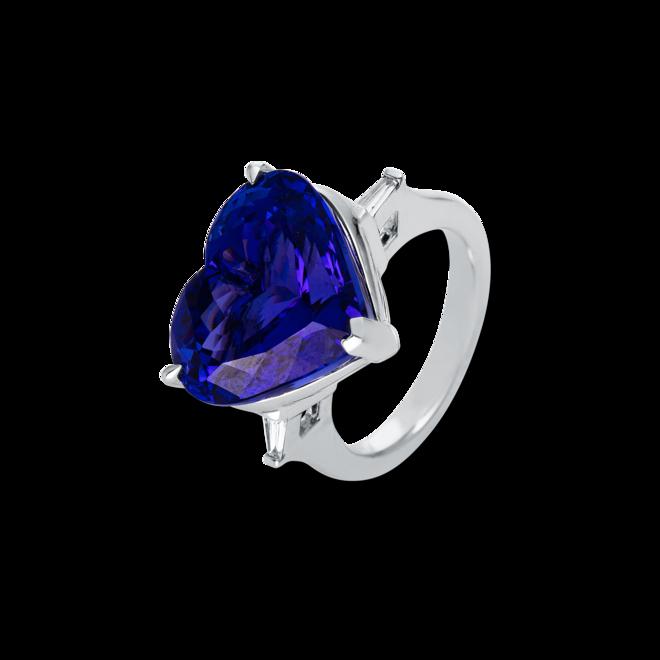 Ring Brogle Selection Felicity Herz aus 750 Weißgold mit 2 Diamanten (0,13 Karat) und 1 Tansanit bei Brogle