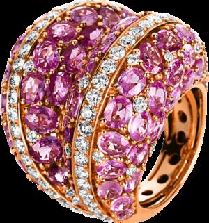 Ring Brogle Selection Exceptional aus 750 Roségold mit 97 Brillanten (2,73 Karat) und 72 Saphiren