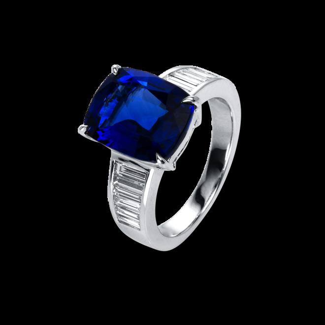 Ring Brogle Selection Exceptional aus 750 Weißgold mit 12 Diamanten (0,69 Karat) und 1 Saphir bei Brogle