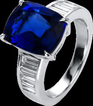 Ring Brogle Selection Exceptional aus 750 Weißgold mit 12 Diamanten (0,69 Karat) und 1 Saphir