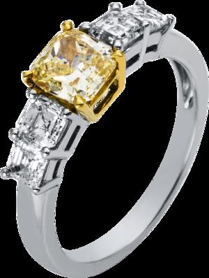 Ring Brogle Selection Exceptional aus 750 Weißgold und 750 Gelbgold mit 5 Diamanten (2,14 Karat)