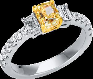 Ring Brogle Selection Exceptional aus 750 Weißgold und 750 Gelbgold mit 14 Brillanten (0,74 Karat)