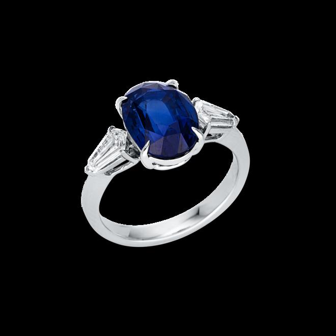 Ring Brogle Selection Exceptional aus 750 Weißgold mit 2 Diamanten (0,54 Karat) und 1 Saphir bei Brogle
