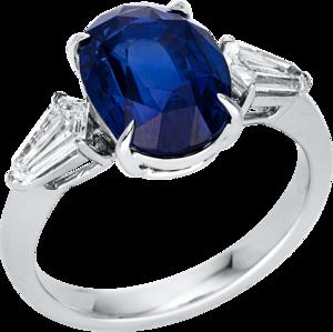 Ring Brogle Selection Exceptional aus 750 Weißgold mit 2 Diamanten (0,54 Karat) und 1 Saphir