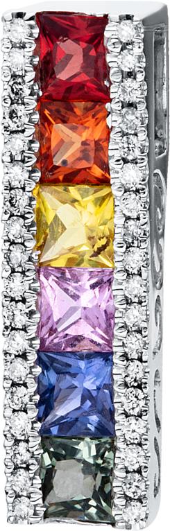 Anhänger Brogle Selection Felicity aus 750 Weißgold mit 36 Brillanten (0,1 Karat) und 6 Saphiren