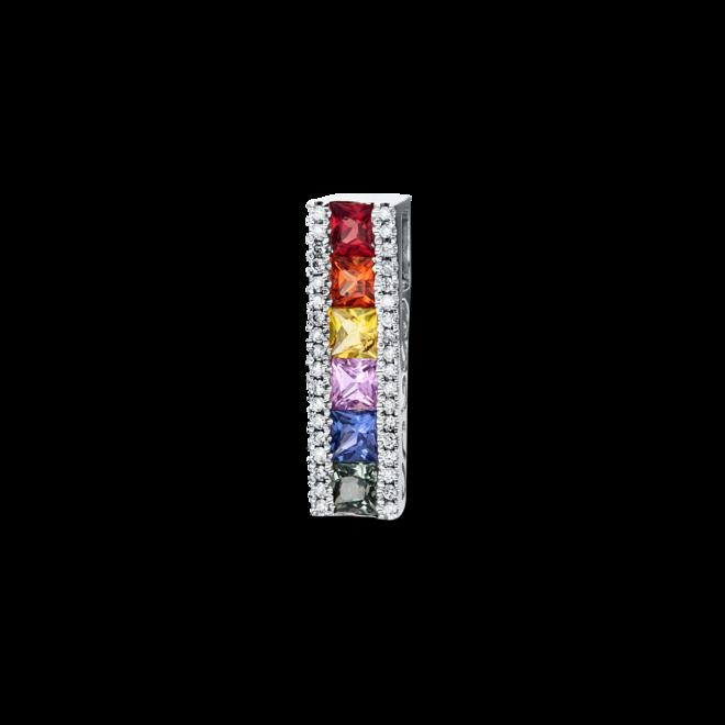 Anhänger Brogle Selection Felicity aus 750 Weißgold mit 36 Brillanten (0,1 Karat) und 6 Saphiren bei Brogle
