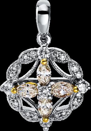 Anhänger Brogle Selection Felicity aus 750 Weißgold und 750 Gelbgold mit 25 Diamanten (0,47 Karat)
