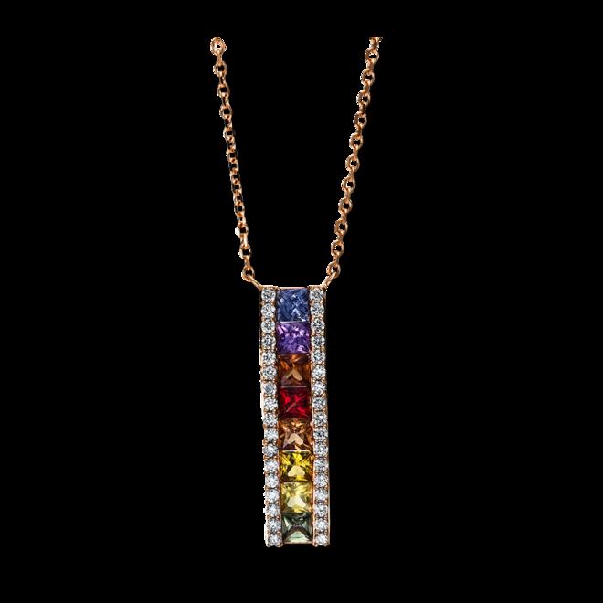 Halskette mit Anhänger Brogle Selection Felicity aus 750 Roségold mit 34 Brillanten (0,23 Karat) und 8 Saphiren bei Brogle