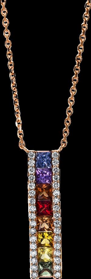 Halskette mit Anhänger Brogle Selection Felicity aus 750 Roségold mit 34 Brillanten (0,23 Karat) und 8 Saphiren