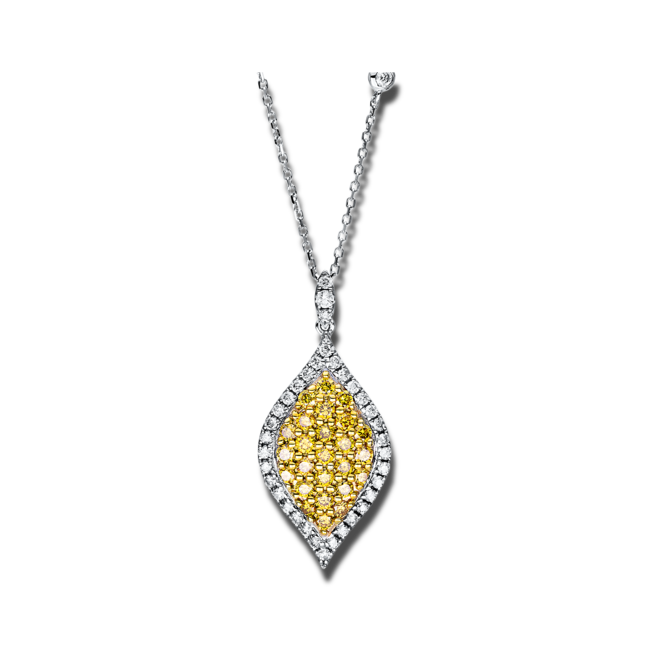 Halskette mit Anhänger Brogle Selection Felicity aus 585 Weißgold und 585 Gelbgold mit 64 Brillanten (1,19 Karat) bei Brogle
