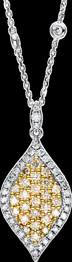 Halskette mit Anhänger Brogle Selection Felicity aus 585 Weißgold und 585 Gelbgold mit 64 Brillanten (1,16 Karat)